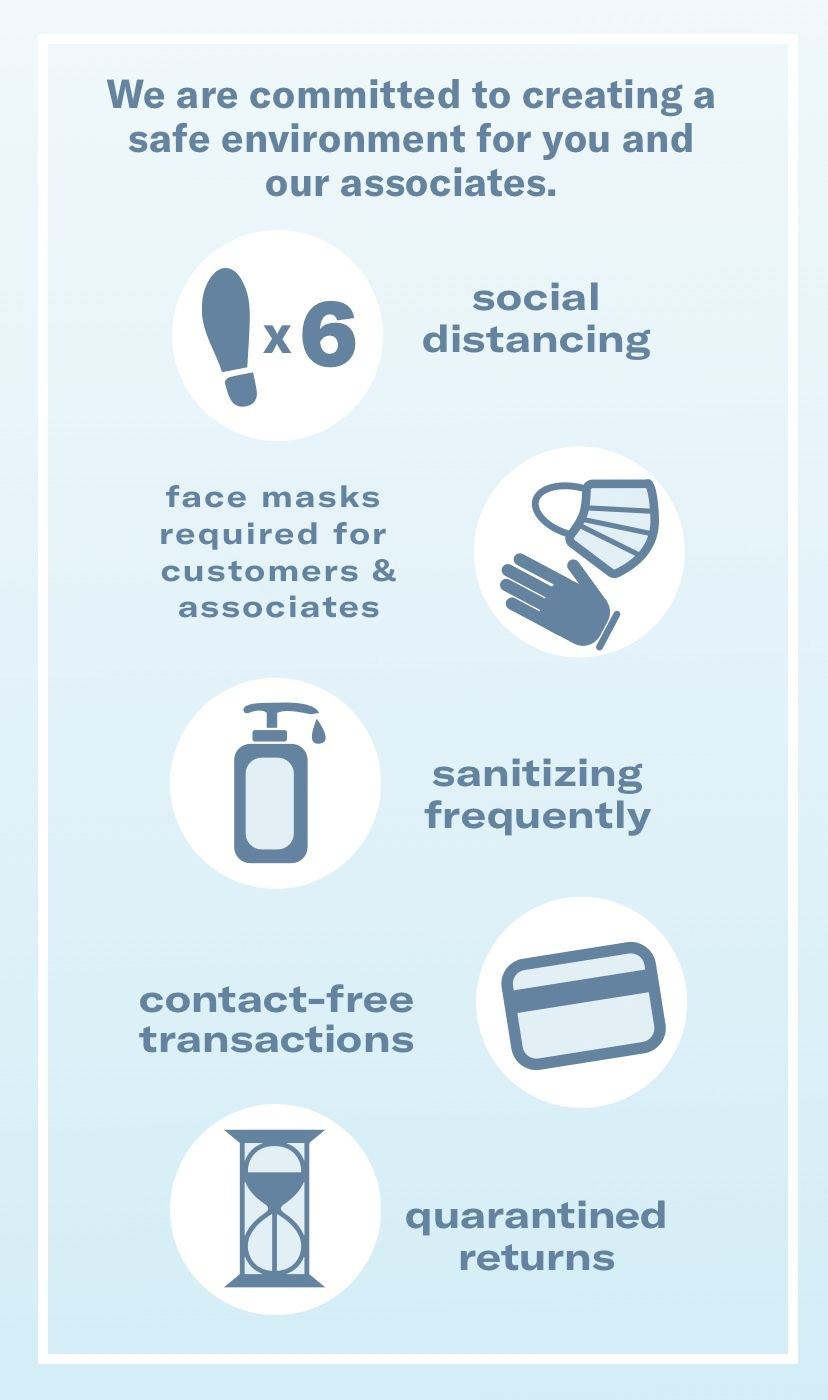 We are committed to creating a safe environment for you and our associated. Social distancing - wearing masks and gloves - sanitizing frequently - contact free transactions - quarantined returns