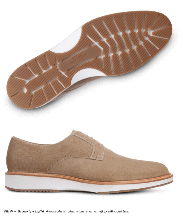 Allen Edmonds- Brooklyn Light Tan Suede Dress Casual Derby. Available in plain-toe and wingtip silhouettes.