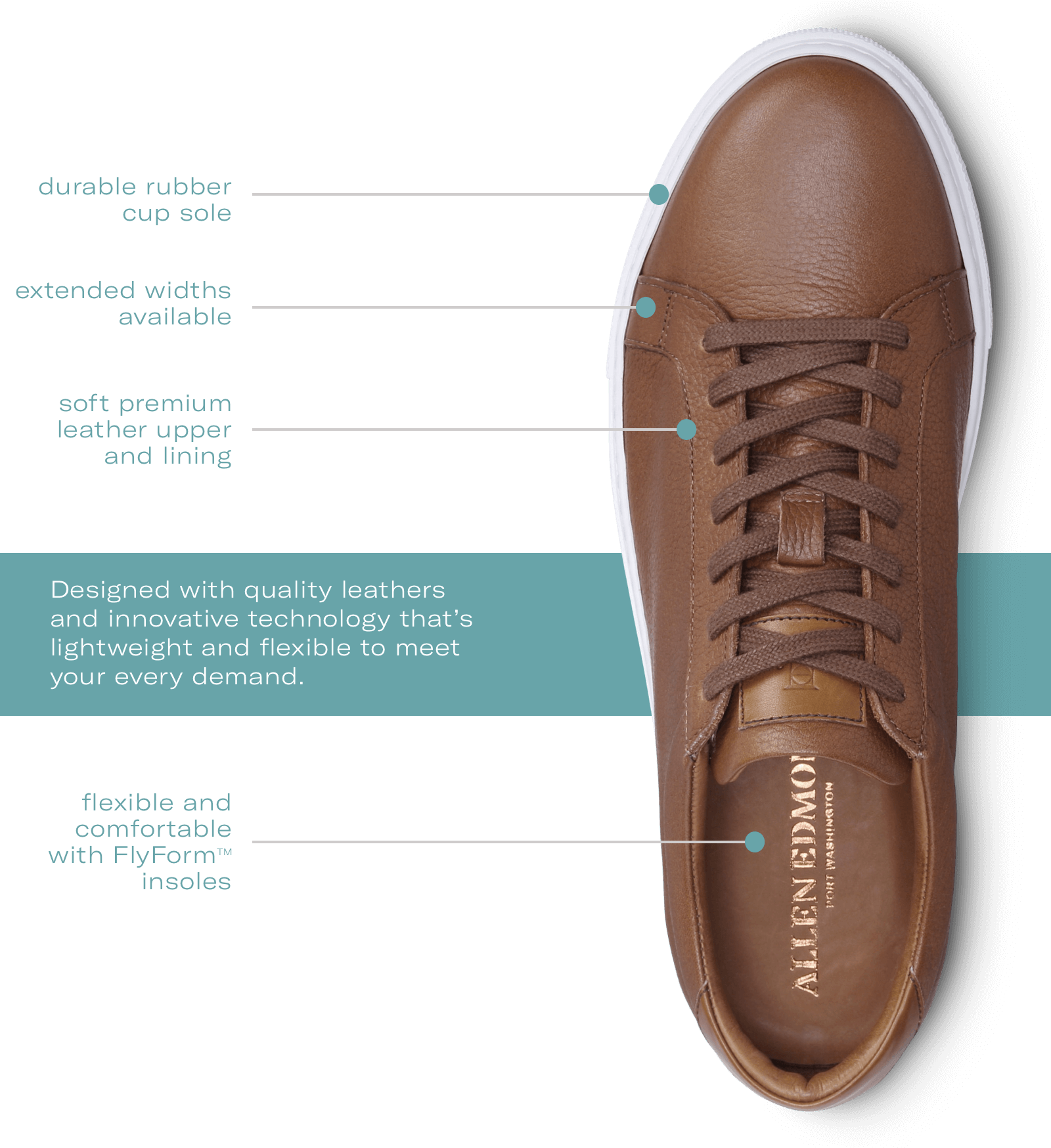 Allen Edmonds dress sneakers - Durable rubber cup sole. Soft premium leather upper and lining. Extended widths available. Designed with quality leathers and innovative technology that's lightweight and flexible to meet your every demand. Flexible and comfortable with Flyform™ insoles.